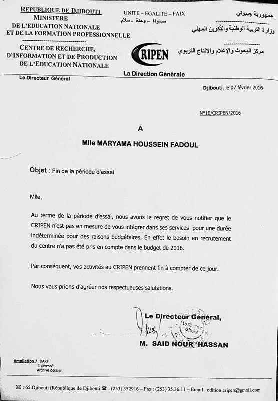 Fin de période d'essai de Maryama Houssein Fadoul